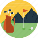 golf course, golf court, golf field, outdoor game, playing golf icon