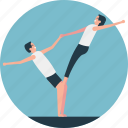 exercising partners. acrobats, gymnastics, physical training, yoga partners icon