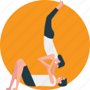 acrobats training, exercise partners, fitness, physical training, weight lifting icon
