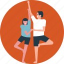 acrobats, physical training, special exercise, yoga instructor, yoga partners icon