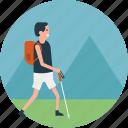 climbing trip, hiker, hiking trip, mountain climb, walking in field icon