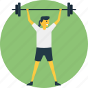 gym activities, gym coach, gyming, lifter, physical training, weight lifting icon