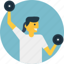 dumbbell lifting, gyming, physical training, weight lifting, weightlifter icon