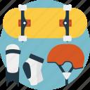 boarding equipment, boarding gear, extreme sports, outdoor sports, skateboarding icon