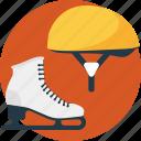 helmet, ice skating, skates, skating gear, skating shoes icon