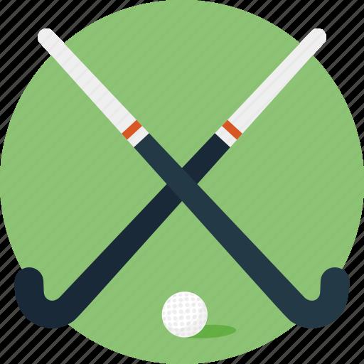 ball, hockey equipment, hockey ground, hockey sticks, playing field icon