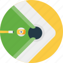 aiming, balls, billiard table, playing pool, rail cushions icon