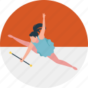 athlete leaping, girl jumping, gymnastics, leap, training icon