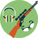 ear safety, goggles, hunting gun, shooting gear, shooting practice icon
