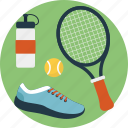 outdoor game, shoes, tennis equipment, tennis gear, tennis racket icon