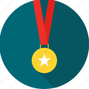 achievement, award, badge, gold, medal, star, winner icon