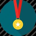 achievement, award, badge, gold, medal, star, winner icon
