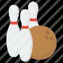 alley pins, bowling ball, bowling game, bowling pins, hitting pins, tenpins icon