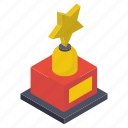 achievement award, gold prize, gold star, star award, star trophy icon
