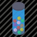 ball container, ball cylinder, balls bottle, balls box, cricket balls icon