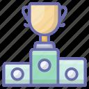 achievement, award, podium trophy, reward, star trophy, victory icon