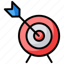 bullseye, dartboard, objective, sports, target board icon