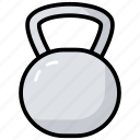 exercise, fitness, iron weight, kettlebell, weight ball, weight tool icon