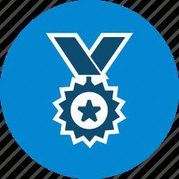 achievement, medal, medallion, win, wreath icon