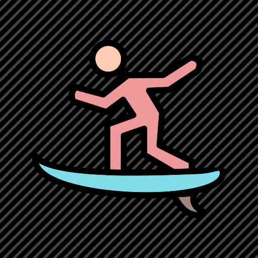 surf, surf board, surfing icon