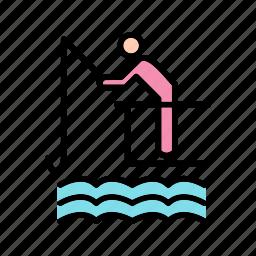 caught, fish, fishing, rod icon