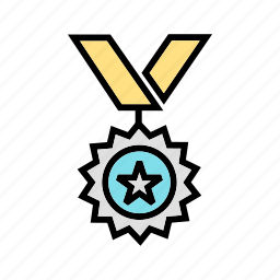 achievement, medal, medallion, win, wreath icon