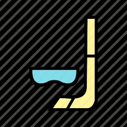 deep, fun, mask, snorkel, swimming, travel icon