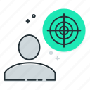 practice, precision, range, shooting, target icon