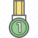 badge, first position, gold medal, position medal, winner medal icon