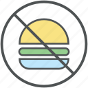 ban fast food, burger prohibition, forbid junk food, prohibited burger, prohibition icon