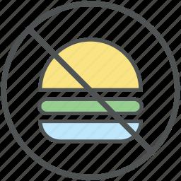 ban fast food, burger prohibition, forbid junk food, prohibited burger, prohibition icon
