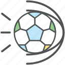 ball hit, field ball, football hit, goal ball, playing football, soccer balls icon