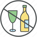 wine prohibition, no alcohol, ban wine, no wine, alcohol ban, alcohol not allowed icon