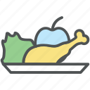apple, chicken drumstick, drumstick, food, fresh food, healthy food icon