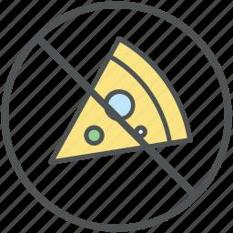 ban fast food, forbidden pizza, no pizza, prohibited pizza, restriction icon