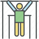 exercise, exercise hang bar, gym, gymnasium, gymnast, uneven bars icon