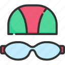 cap, goggles, pool, sport, swimmer, swimming, water icon