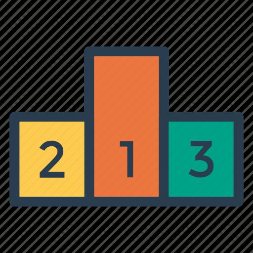 analytics, blocks, boxes, cubes, ranking, reward, winning icon