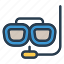 divers, eyeglasses, glasses, spectacles, sports, swim, underwater icon