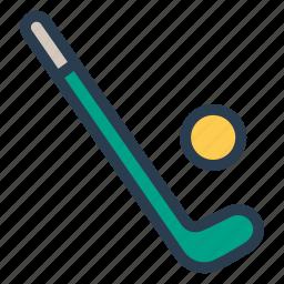 ball, fitness, goal, hockey, play, sport, stick icon