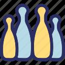 alley pins, bowl pins, bowling game, game, hitting pins icon