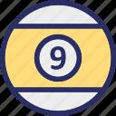 billiard, billiard ball, game, pool ball, snooker ball icon