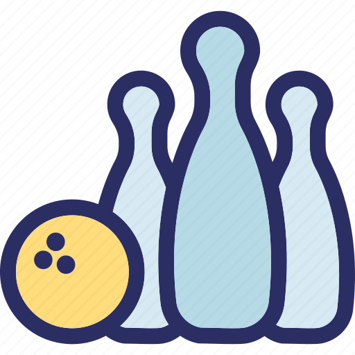 alley ball, alley pins, bowling ball, bowling game, hitting pins icon