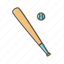 ball, baseball, bat, hardball, hurl, sport, willow icon