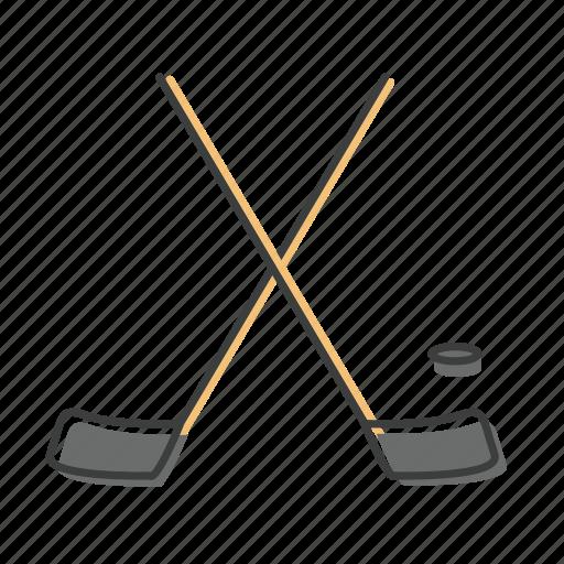 bandy, club, hockey, puck, sport, stick icon