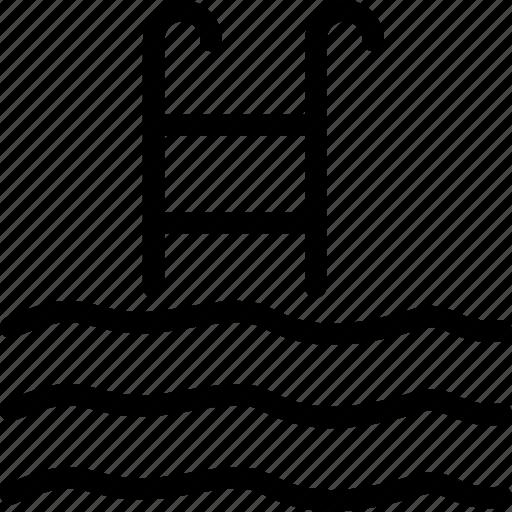 pool ladders, pool stairs, pool steps, sea ladders icon