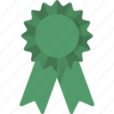 award, green, place, ribbon, third, third place icon