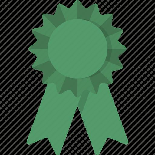 award, green, place, ribbon, third, third place icon