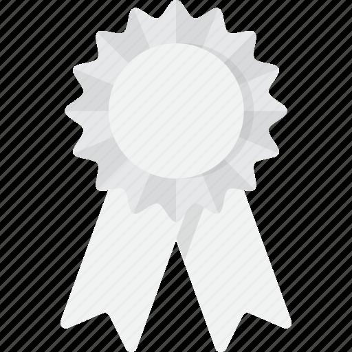 award, place, ribbon, third, third place, white icon