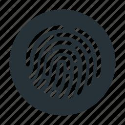 finger, fingerprint, open, passcode, password, touch id icon